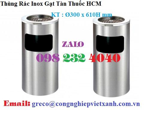 Thùng rác inox gạt tàn HCM - Ø300 x 610H