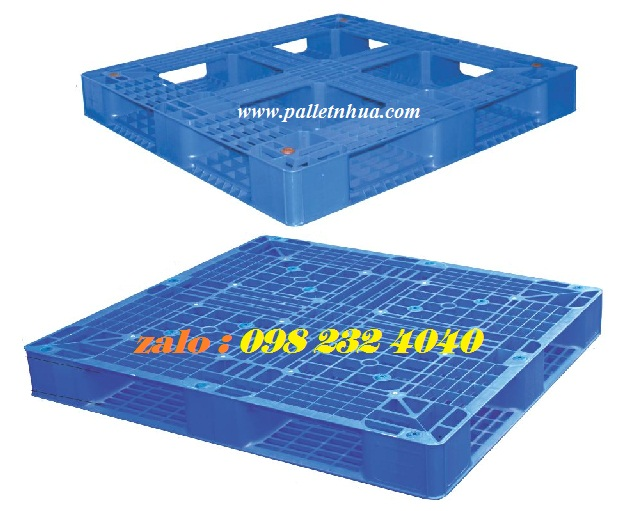 Pallet nhựa 1 mặt 1100x1100x125mm, ba lét