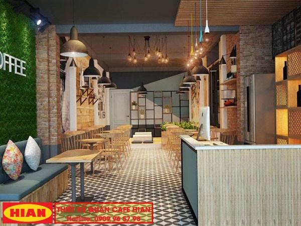 Thiết kế quán cafe 1 tầng đẹp trọn gói oanh coffee đẹp phù hợp